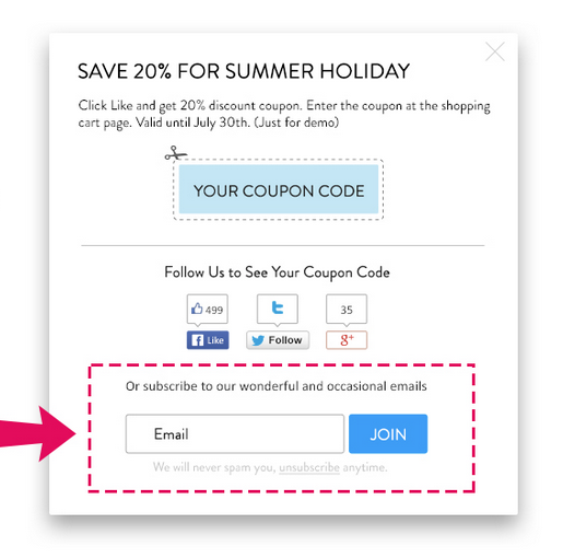 Collect customers' emails in coupon box