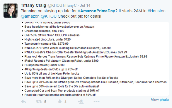 Amazon Prime Day Tweet
