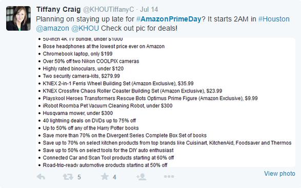 Amazon Prime Day Tweet