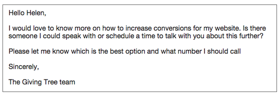 Customer response from personalized emails