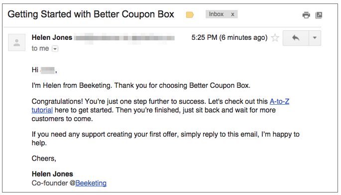 Welcome emails by Beeketing