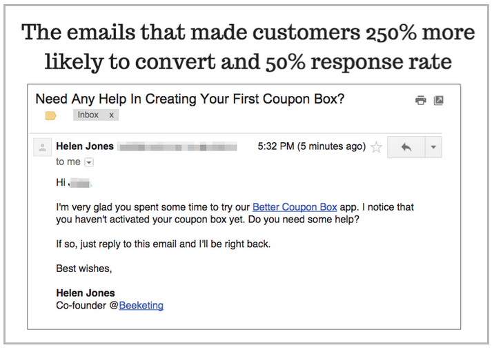Conversion from emails Beeketing