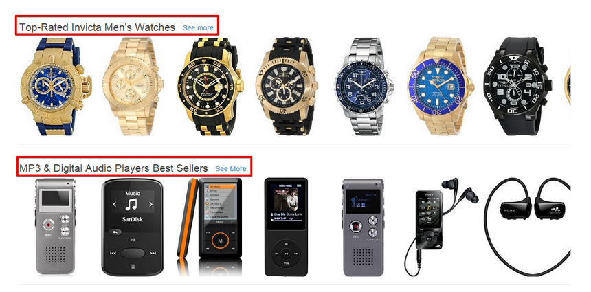 Recommendation on Amazon Homepage