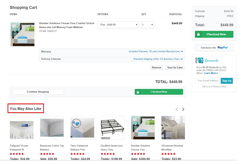 recommendation on overstock cart page