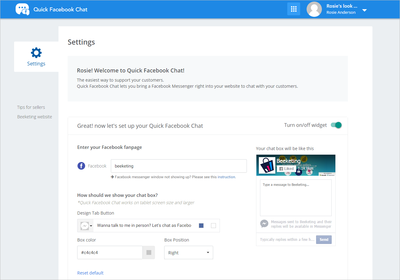 Quick Facebook Chat - live chat customer support on-store