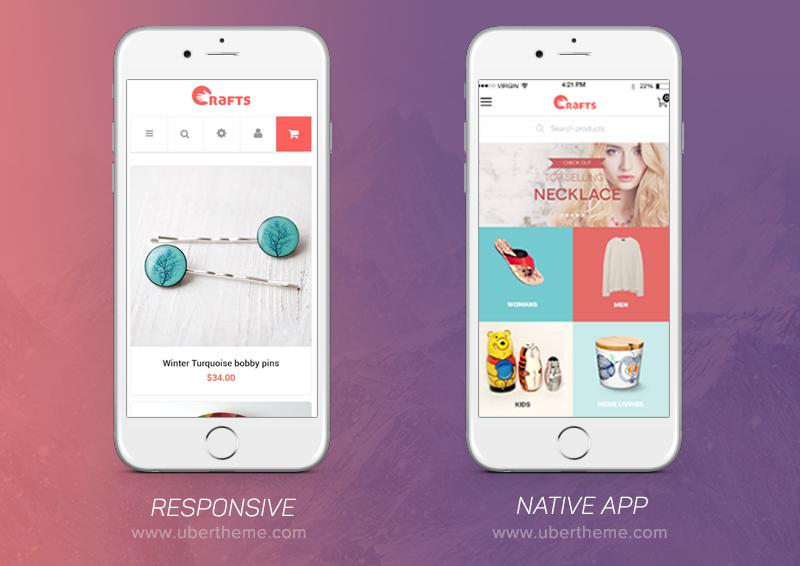 Crafts theme: Responsive vs. Native mobile app