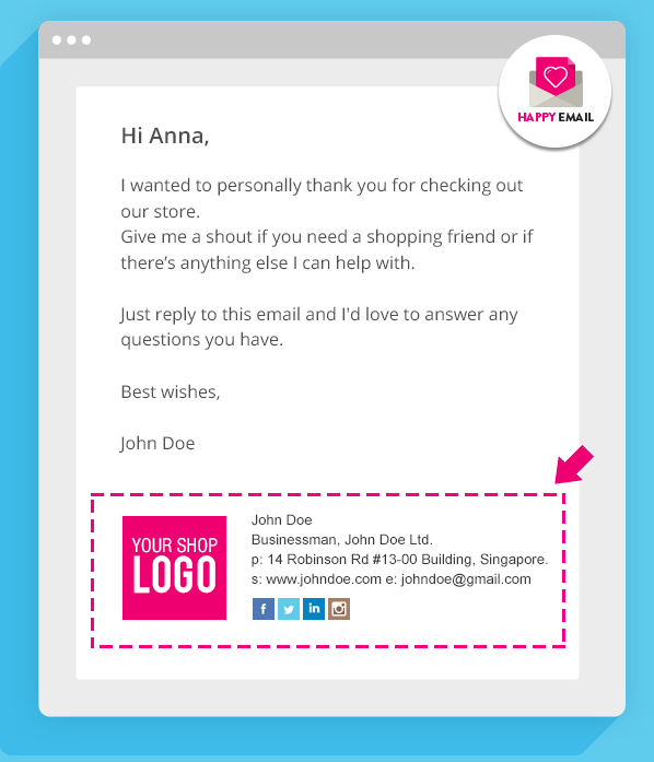 Happy Email branded signature