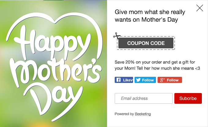 increase sales on mother's day with special coupon pop ups