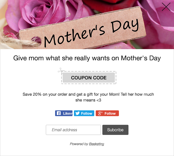 coupon pop up in mother's day
