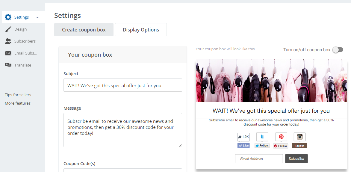 create a coupon pop up with Better Coupon Box app