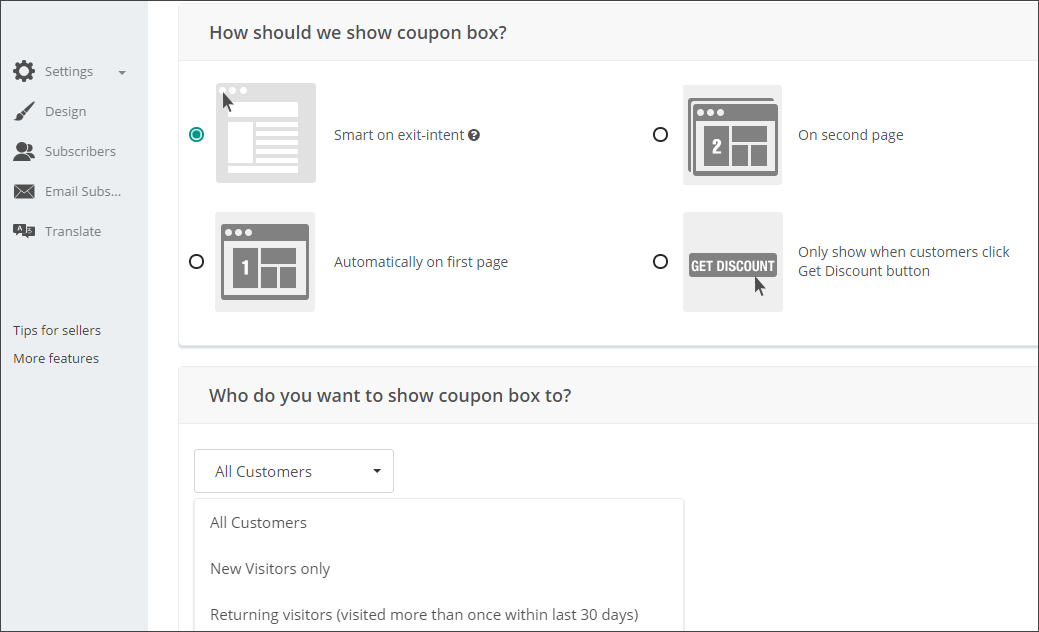 Create exit intent popup with Better Coupon Box app
