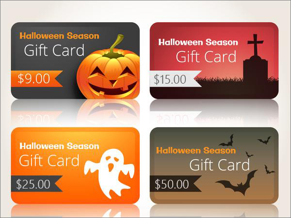Halloween marketing ideas - different giftcards
