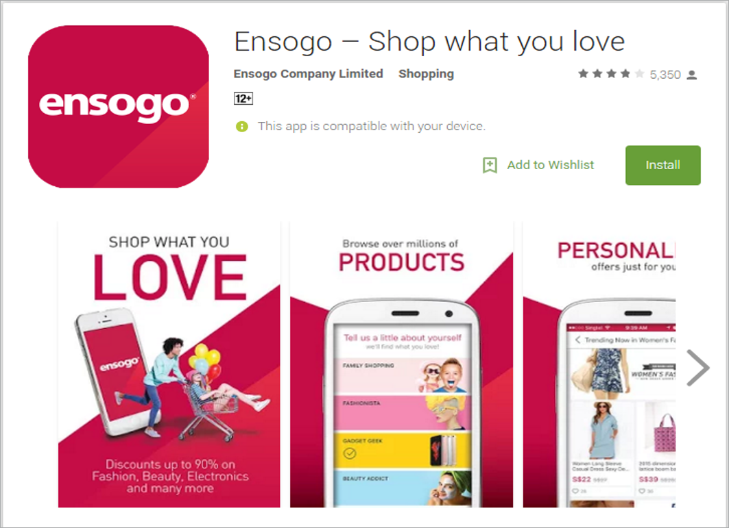 Ensogo mobile shopping app