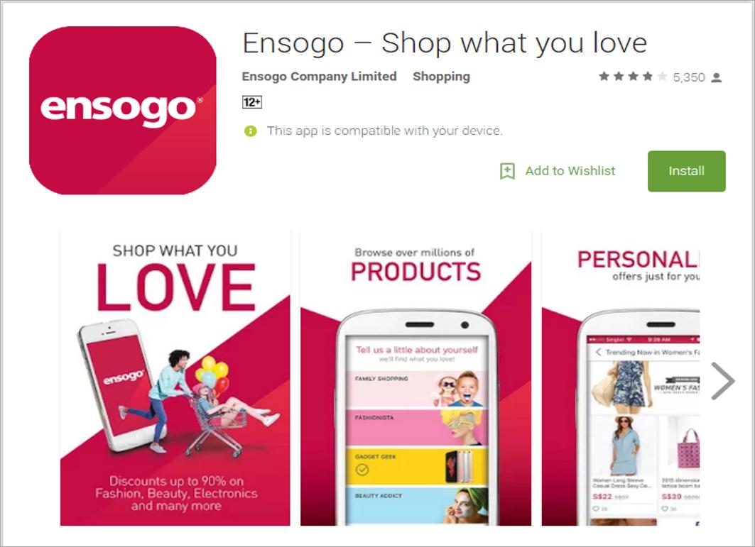 Ensogo mobile shopping app