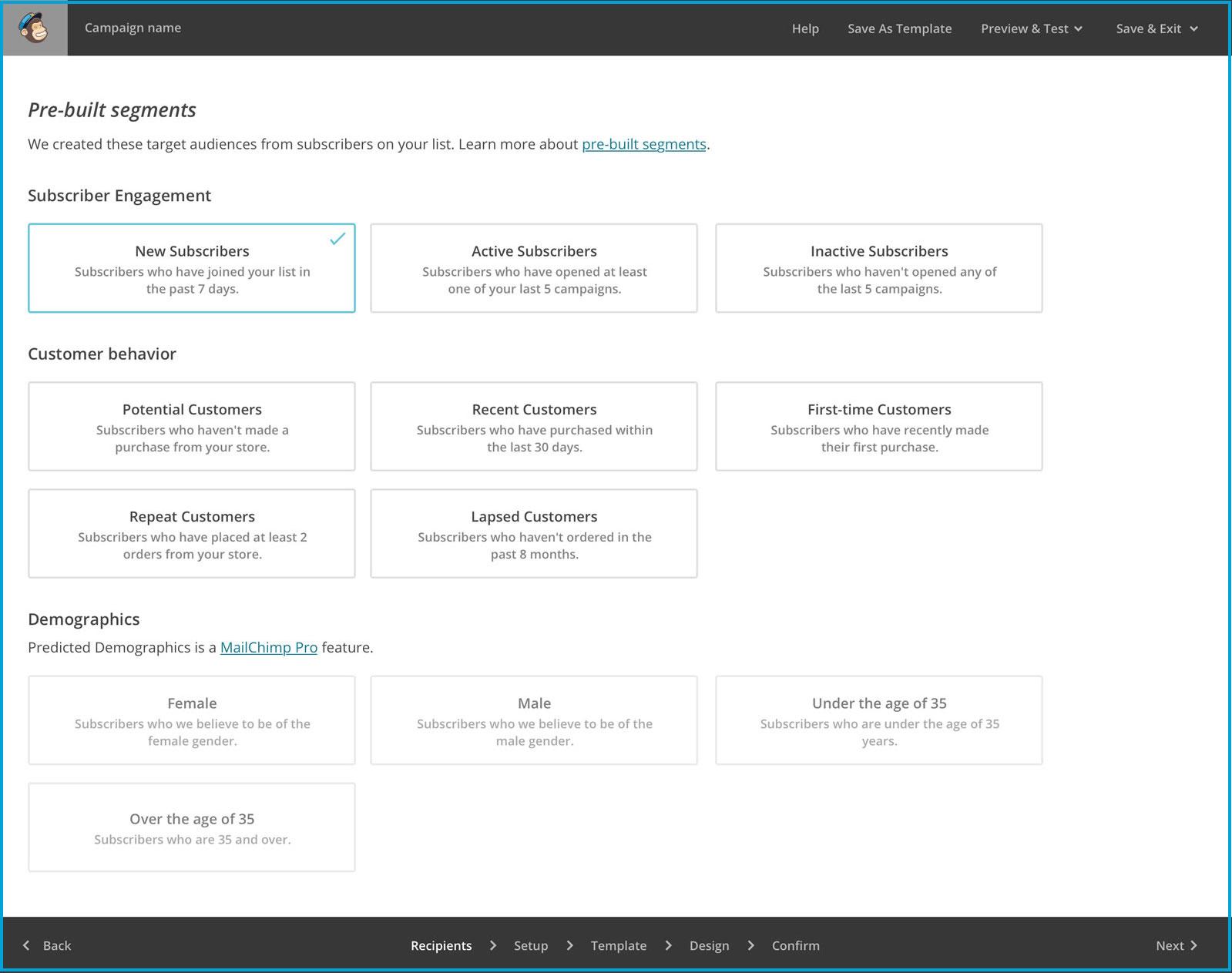 Mailchimp prebuilt-segments