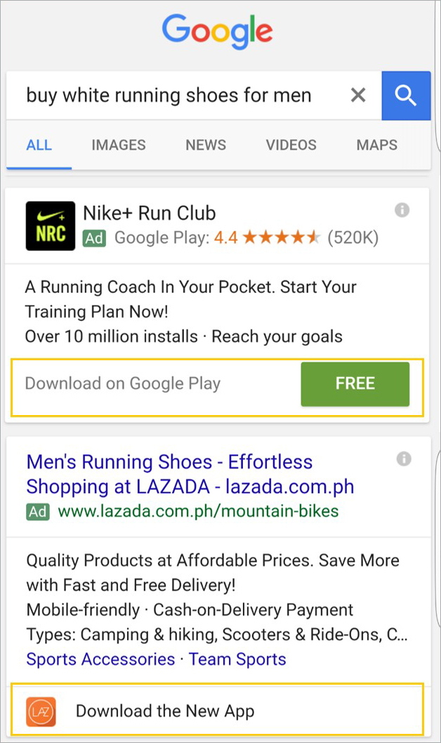 mobile apps on the search engine results page