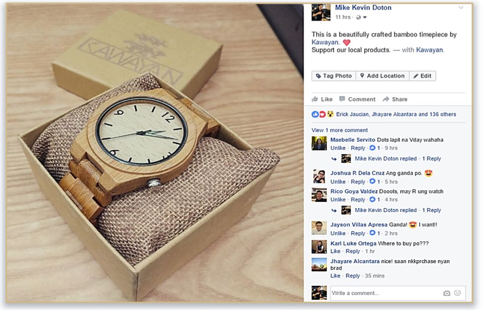 user-generated content example on Facebook.