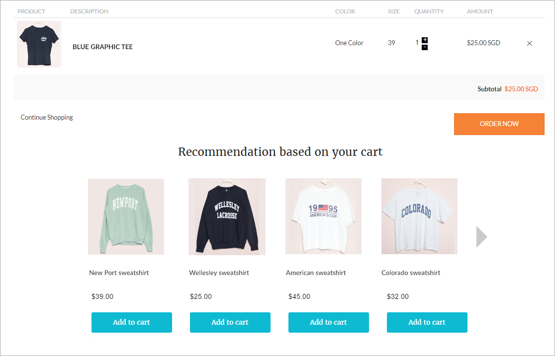 product recommendation on cart page