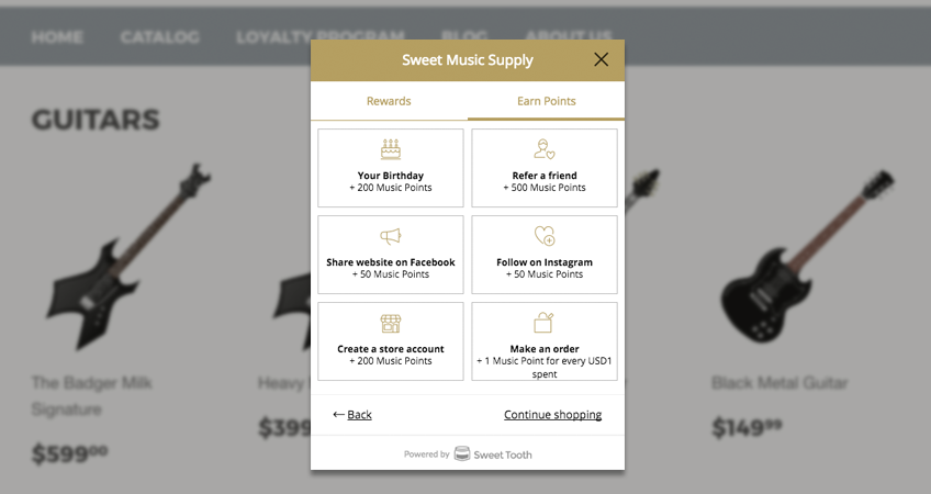 sweet tooth loyalty program for BigCommerce