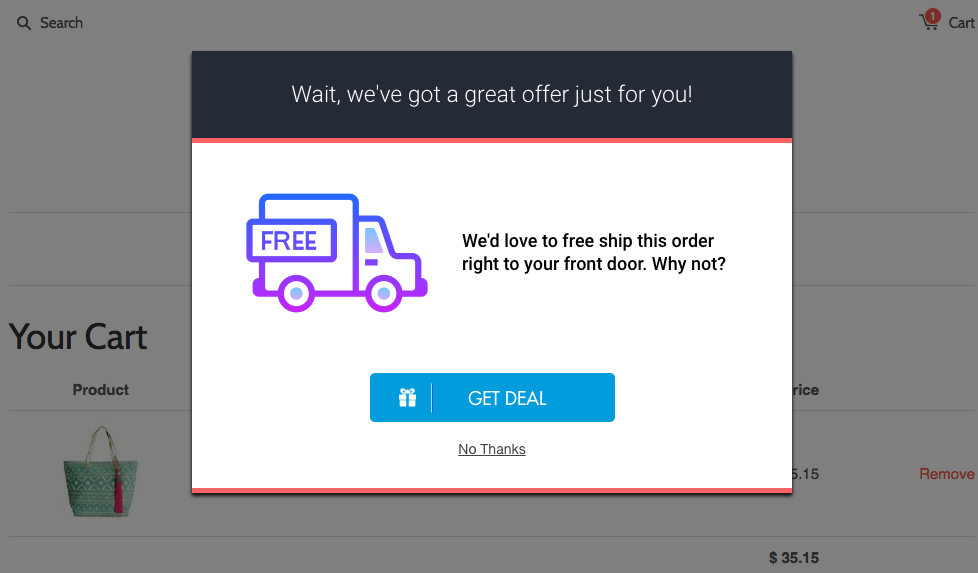 exit-intent free shipping offer