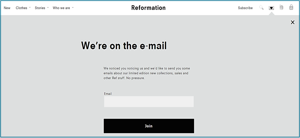 header email opt-in form