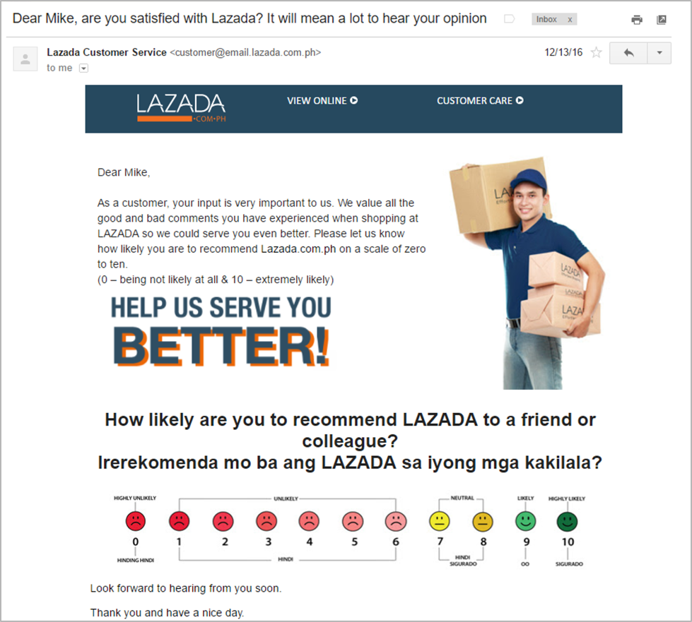 lazada customer satisfaction survey