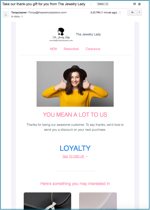 reward email from mailbot