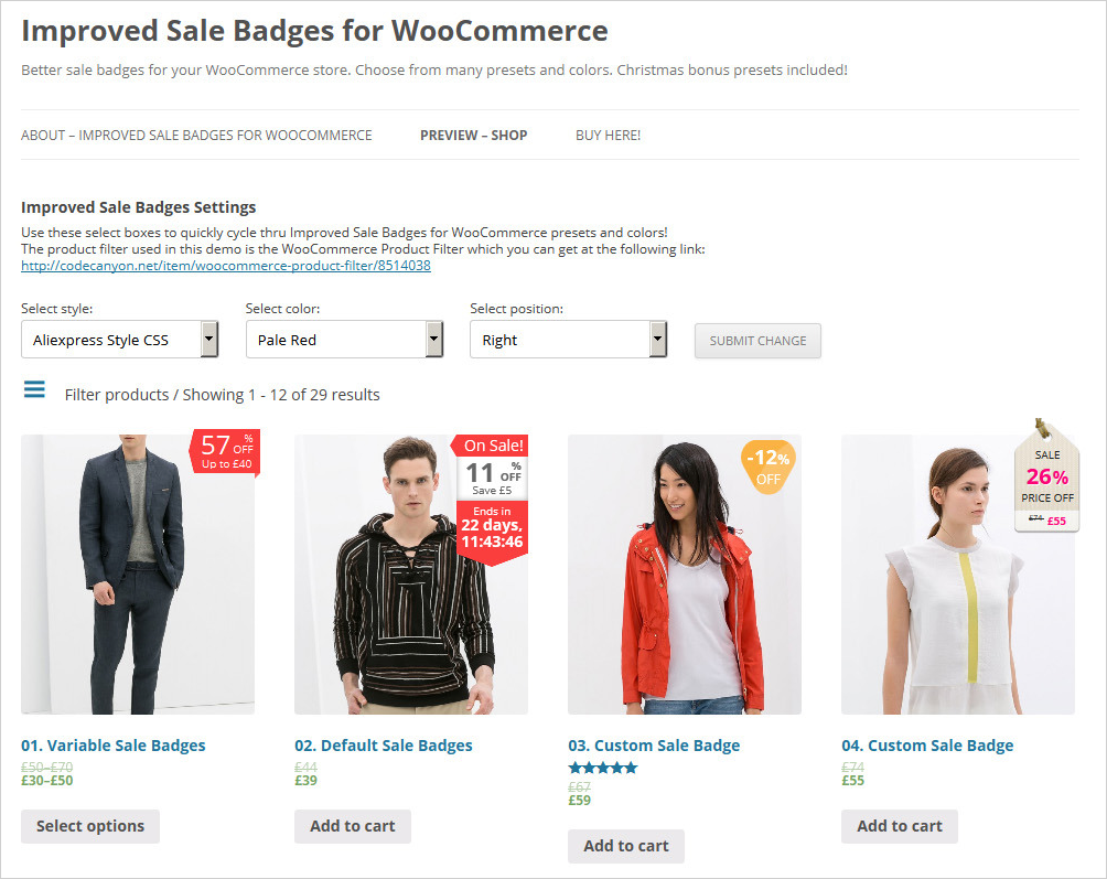 improved sale badges woocommerce