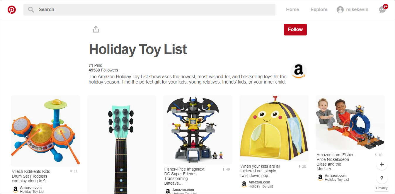 How to use gift guides to boost your holiday sales beeketing blog 6 create a dedicated holiday gift guide boards on pinterest publicscrutiny Images