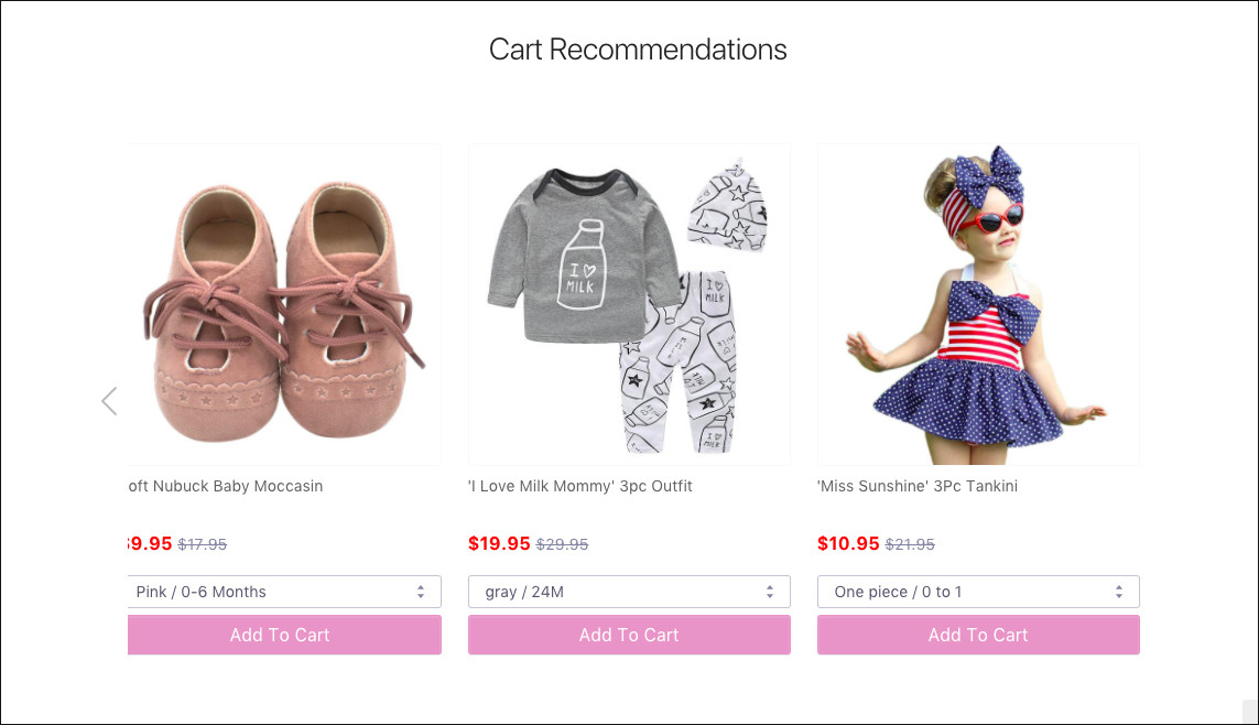 Product Recommendations testing