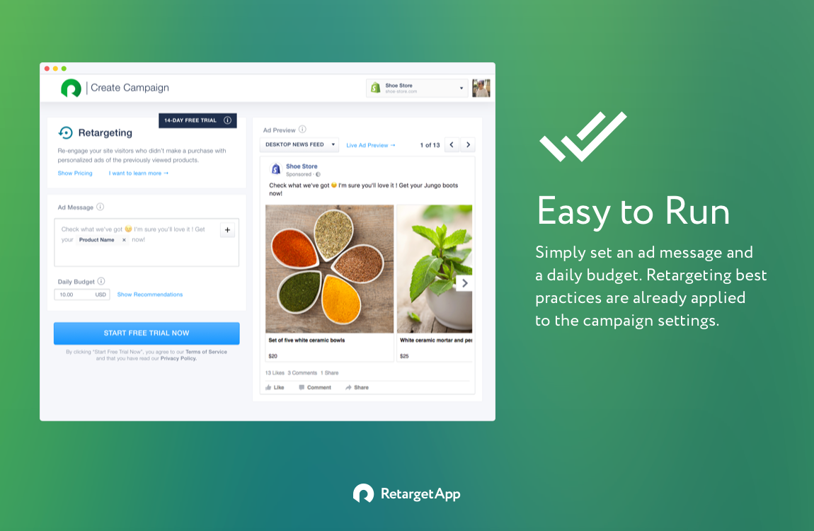 RetargetApp - One of the top best Shopify apps for 2018