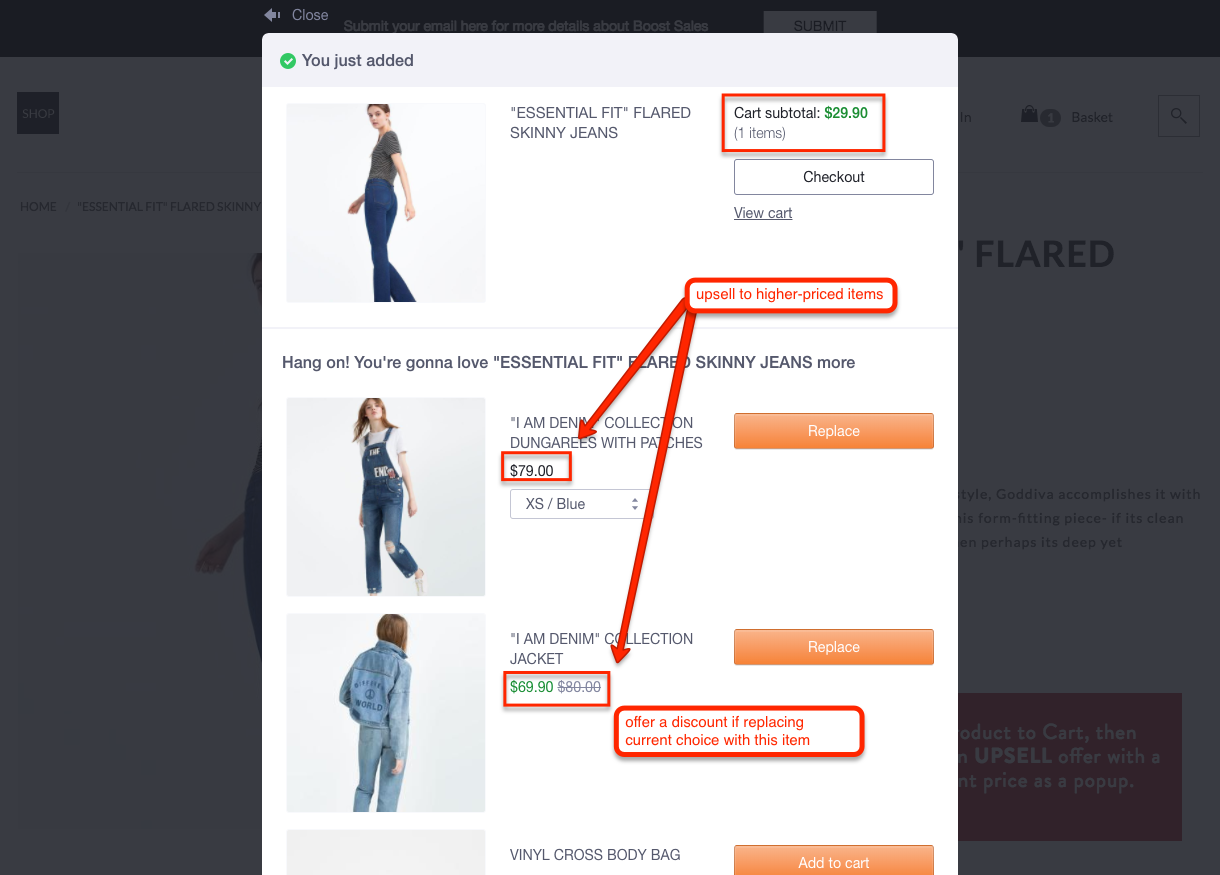 WooCommerce upsell higher-priced products