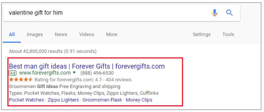 valentine adwords
