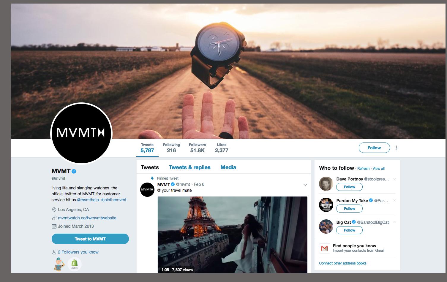MVMT's twitter