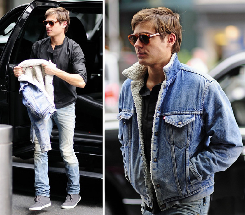 zac efron in levis jacket