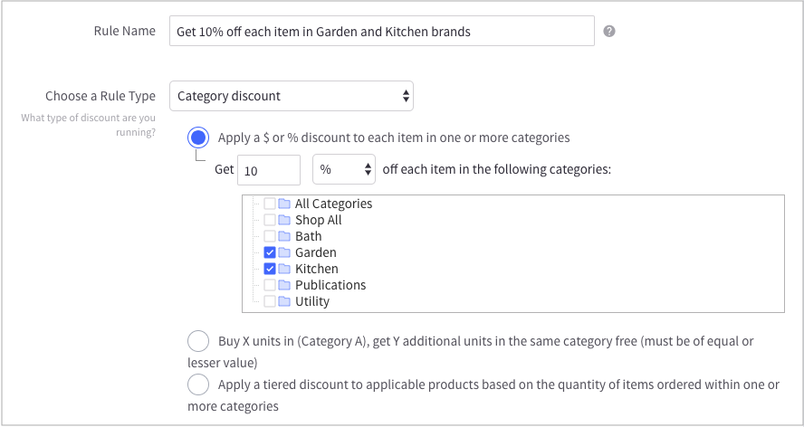category discounts in bigcommerce