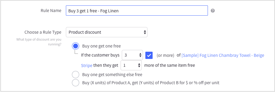 create BOGO offer in BigCommerce