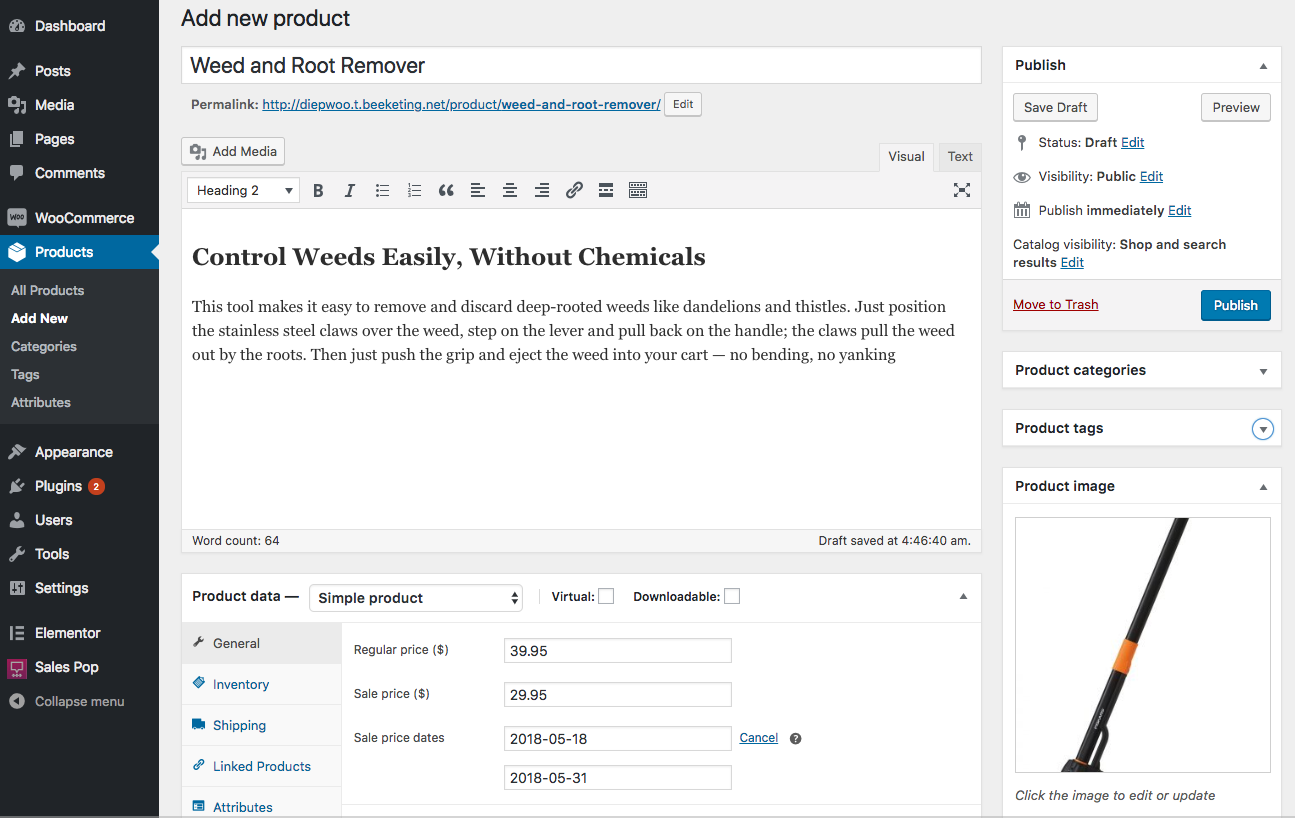 add woocommerce simple product