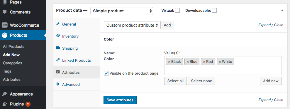 woocommerce simple products with attributes