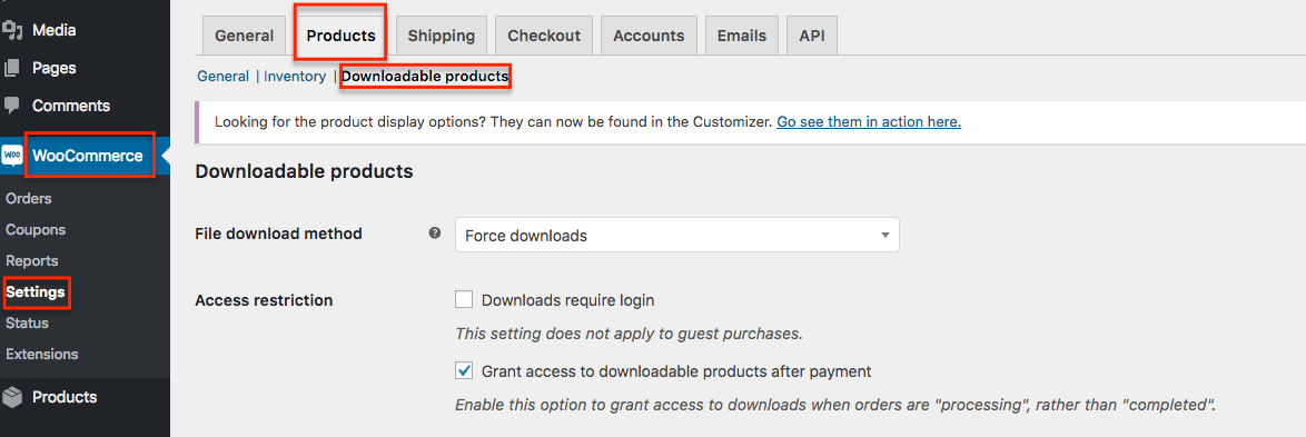 enable woocommerce download product settings