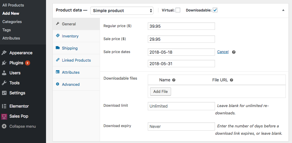 create downloadable products in WooCommerce