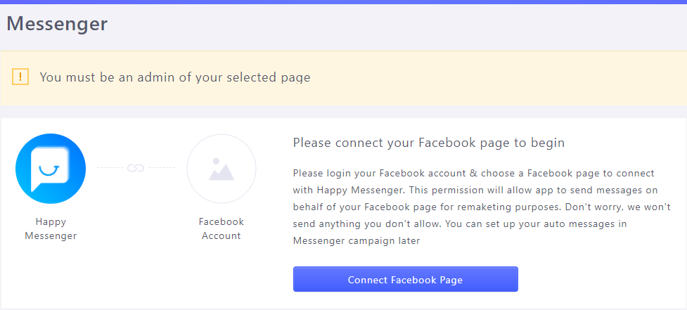 Happy Messenger Connect Page