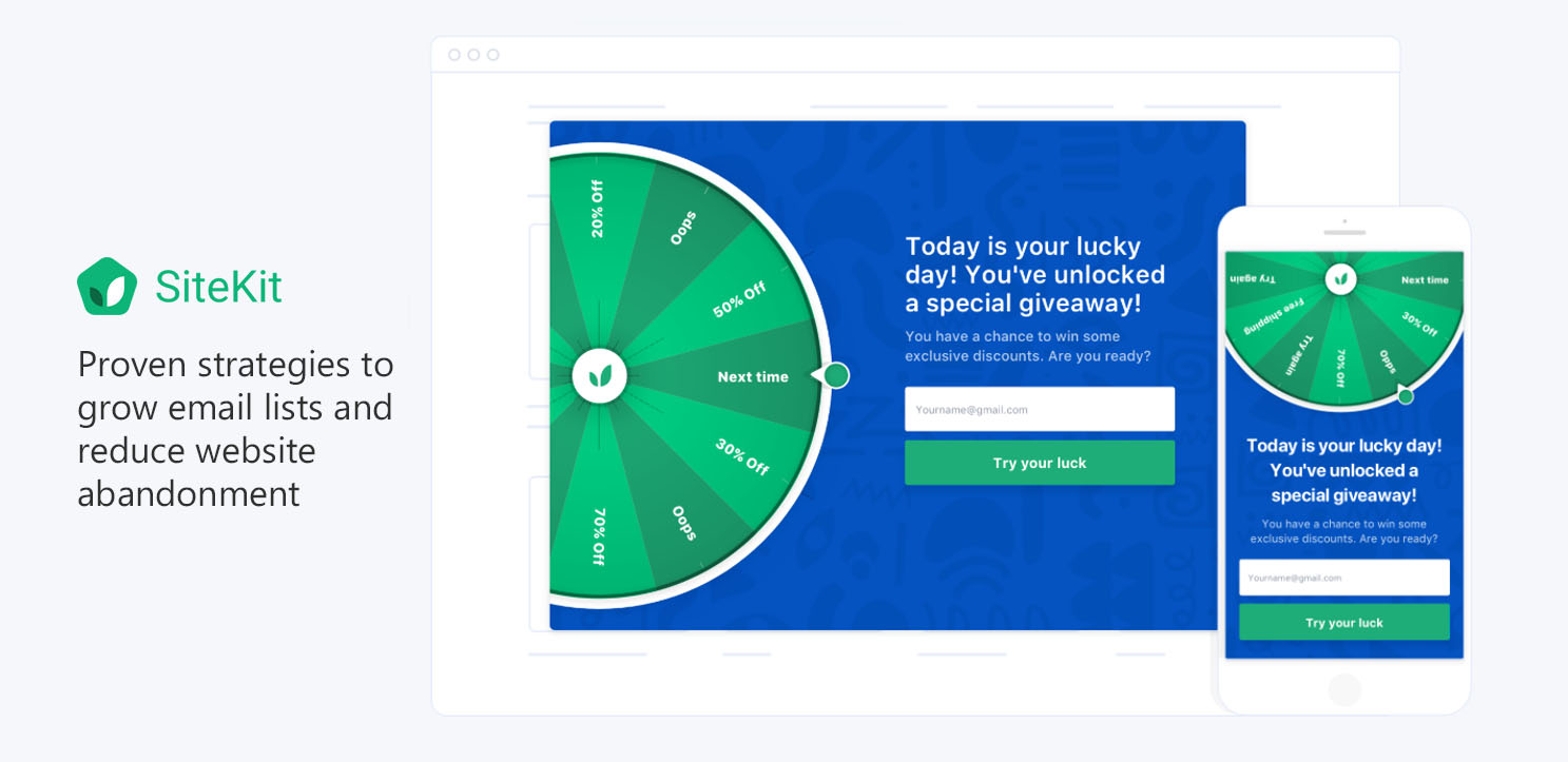 Win Wheel - powerful gamified popup from SiteKit