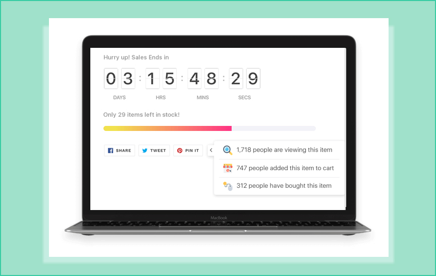 Create product page urgency