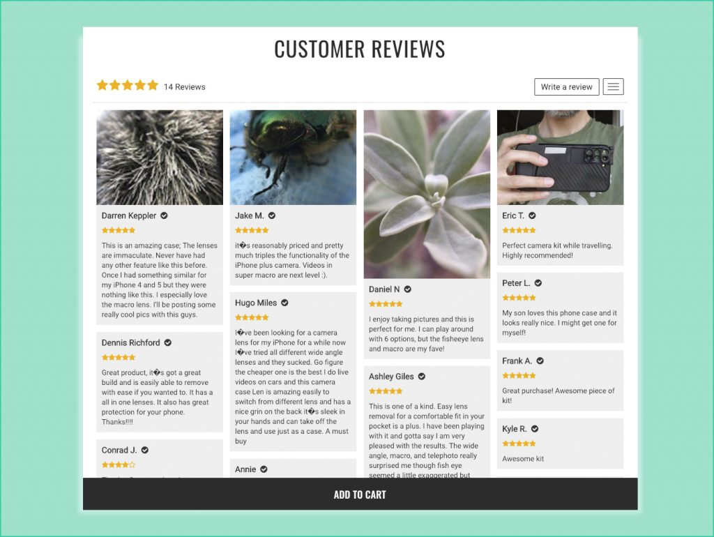 optimize product page review