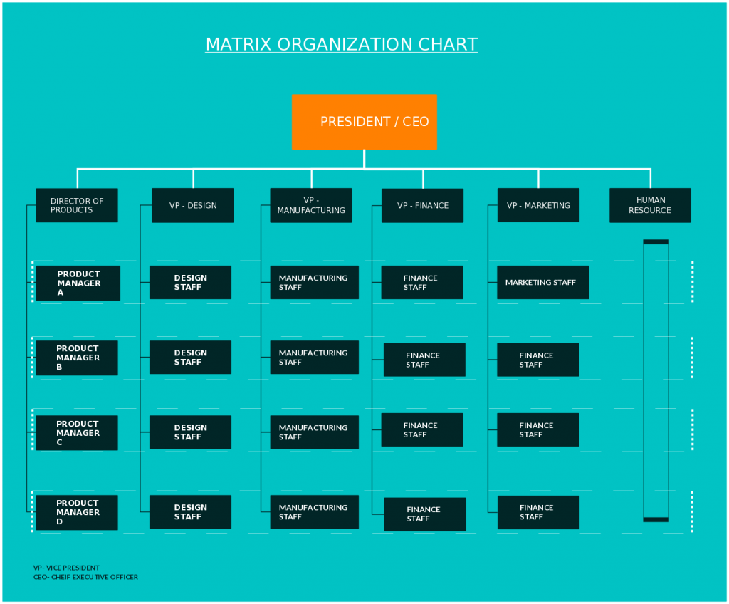 Matrix organization chart
