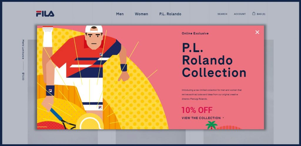 FILA's entry popup