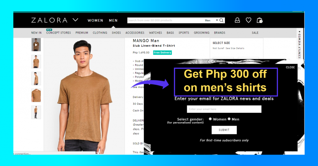 Zalora discounts for men's shirts