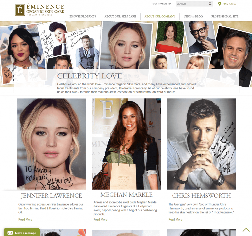 Eminence Organics's blog displaying all the celebrity endorsements they have scored.
