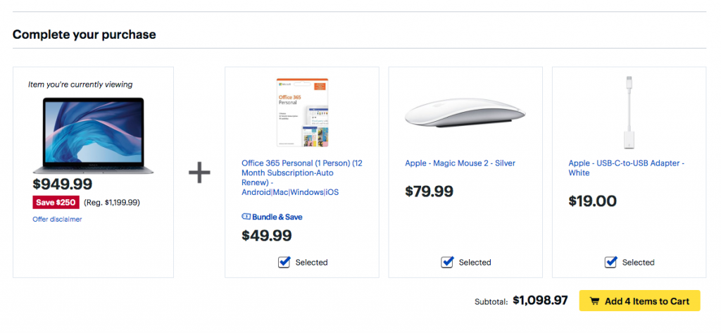 Best Buy bundle of Macbook Air
